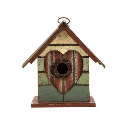 8.75 in. H Distressed Solid Wood Birdhouse with Heart
