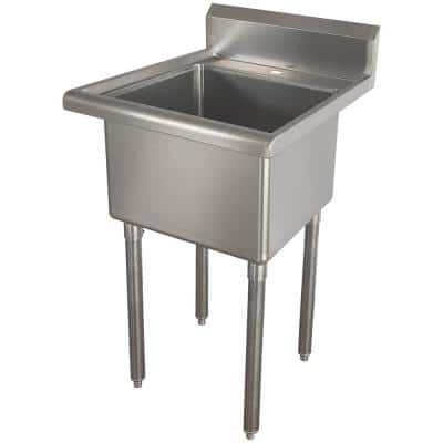 21.5 in. x 24 in. Stainless Steel Utility Wall Mount Sink with Single Hole for Faucet