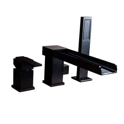 Single-Handle Roman Tub Faucet with Hand Shower in Matte Black 3-Hole Bathroom Waterfall Bathtub Faucet
