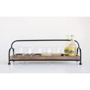 Brown Decorative Wood Tray on Metal Stand