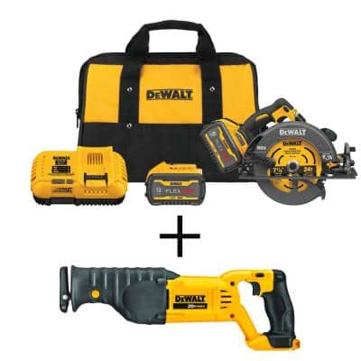 FLEXVOLT 60-Volt MAX Cordless Brushless 7-1/4 in. Circular Saw with Brake, (2) FLEXVOLT 9.0Ah Batteries & Recip Saw