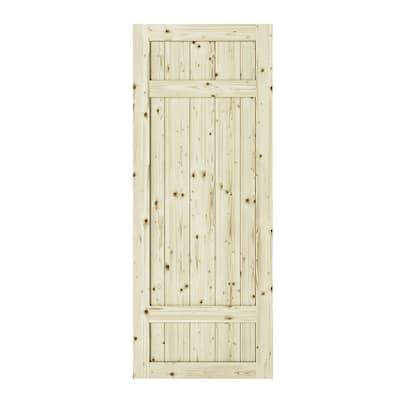 42 in. x 84 in. Barrel 3-Panel Unfinished Knotty Pine Interior Barn Door Slab
