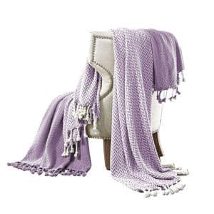 Montgeron Herringbone Purple and White 60 in. L x 50 in. W Cotton Throw (Set of 2)