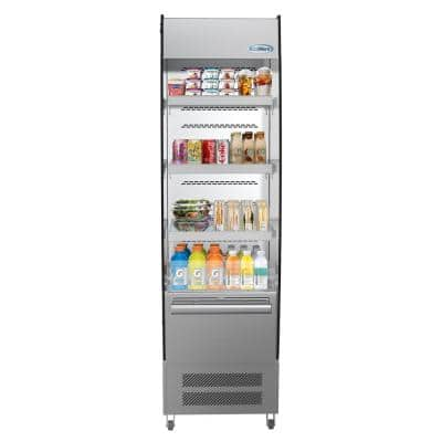 7.7 cu. ft. Commercial Refrigerator Open Air Display Merchandiser with Night Curtain in Stainless Steel