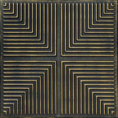 Pyramid Illusion 1.6 ft. x 1.6 ft. Glue Up Foam Ceiling Tile in Black Brass