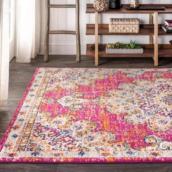 Jonathan Y Bohemian Flair Boho Vintage Medallion Pink Cream 8 Ft X 10 Ft Area Rug Bmf104a 8 The Home Depot