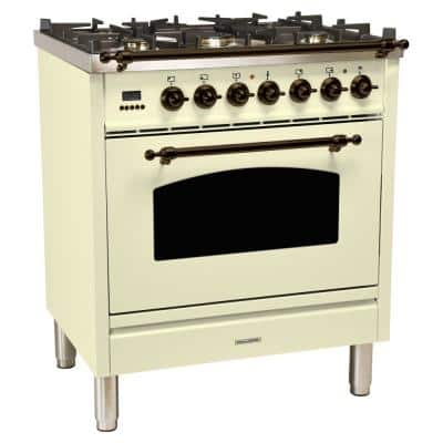 30 in. 3.0 cu. ft. Single Oven Dual Fuel Italian Range with True Convection, 5 Burners, Bronze Trim in Antique White
