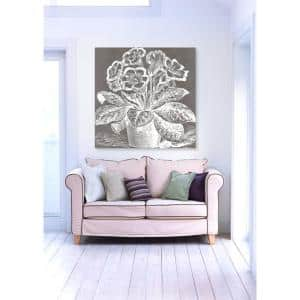 24 in. x 24 in. W 'Potted Primrose Woodblock' by The Oliver Gal Artist Co. Printed Framed Canvas Wall Art