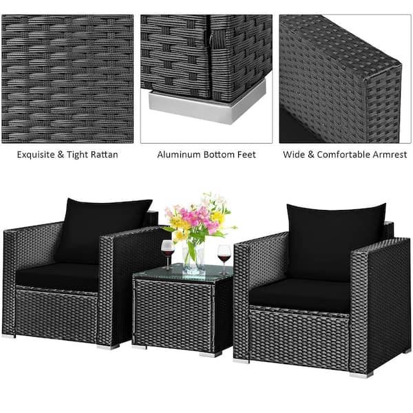 Costway 3 Piece Metal Plastic Wicker, Plastic Feet For Outdoor Furniture Home Depot