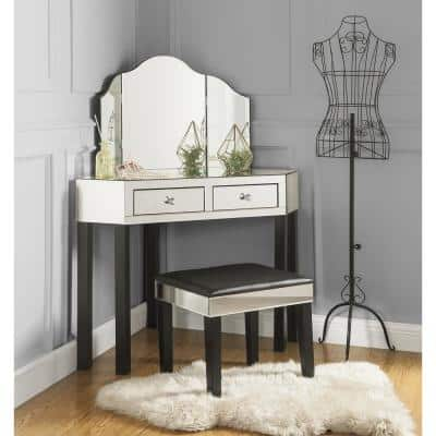 Black Vanity Tables with Trifold Mirror