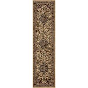 Silk Road Ivory 2 ft. x 7 ft. Medallion Runner Rug