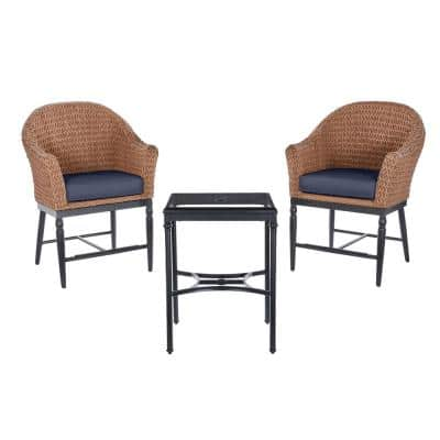 Camden Light Brown 3-Piece Wicker Outdoor Patio Balcony Height Bistro Set with CushionGuard Midnight Navy Blue Cushions