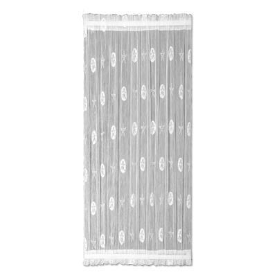 White Coastal Rod Pocket Room Darkening Door Curtain - 45 in. W x 72 in. L