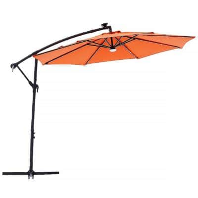 10 ft. Outdoor Cantilever Solar LED Patio Offset Hanging Umbrella in Orange