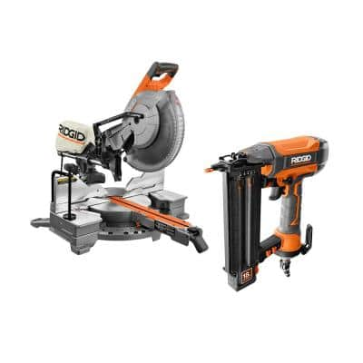 15 Amp Corded 12 in. Dual Bevel Sliding Miter Saw with Pneumatic 18-Gauge 2-1/8 in. Brad Nailer with Tool Bag