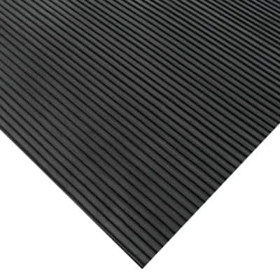 Corrugated Ramp Cleat 3 ft. x 4 ft. Black Rubber Flooring (12 sq. ft.)