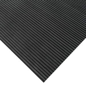 Corrugated Ramp Cleat 3 ft. x 15 ft. Black Rubber Flooring (45 sq. ft.)