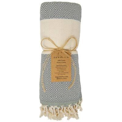 40 in. x 70 in. Gray Diamond Peshtemal 100% Turkish Cotton Bath Towel