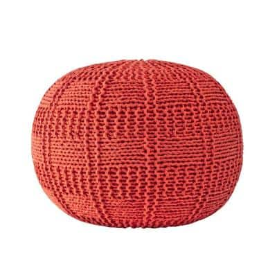 Berlin Casual Knitted Filled Ottoman Orange Round Pouf