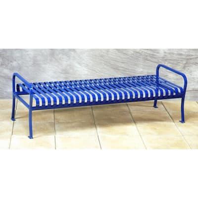 6 ft. Blue Premier Backless Bench