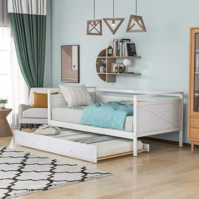 White Twin Size Wood Daybed with Trundle