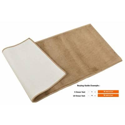 Euro Solid Beige 36 in. Width x Your Choice Length Custom Size Runner Rug