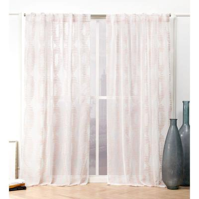 Blush Abstract Back Tab Sheer Curtain - 54 in. W x 96 in. L