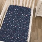 Super Soft Navy and White Cosmic Constellations Polyester Nursery Crib Fitted Sheet