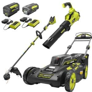 40V Brushless 20 in. Walk Behind Self-Propelled Mower/String Trimmer/Leaf Blower with (2) Batteries and (2) Chargers