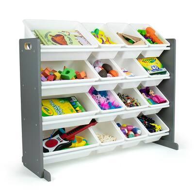 Soho Grey/White Toy Organizer with 16 Storage Bins, 31 in. H x 42 in. W x 15.5 in. D