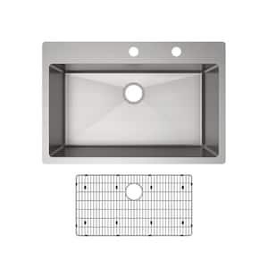 Crosstown Drop-In/Undermount Stainless Steel 33 in. 2-Hole Single Bowl Kitchen Sink