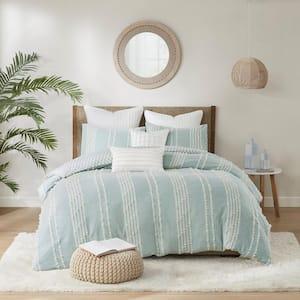 Kara 3-Piece Aqua Full/Queen Cotton Jacquard Comforter Mini Set