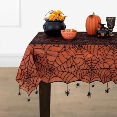 Crawling Halloween Spider Lace Lined 60 in. W x 84 in. L Black/Orange Tablecloth