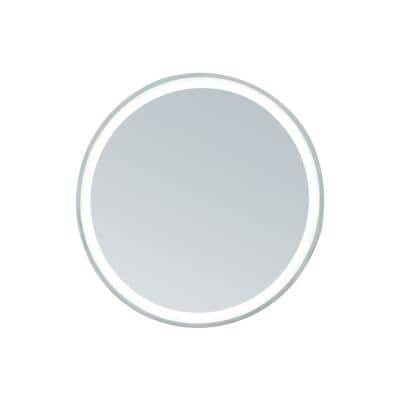 36 in. Dia Framed Round LED Mirror with Warm and Cool Color Temperature, Smart Touch Control in Stainless-Steel