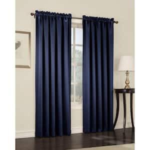 Navy Solid Rod Pocket Room Darkening Curtain - 54 in. W x 63 in. L