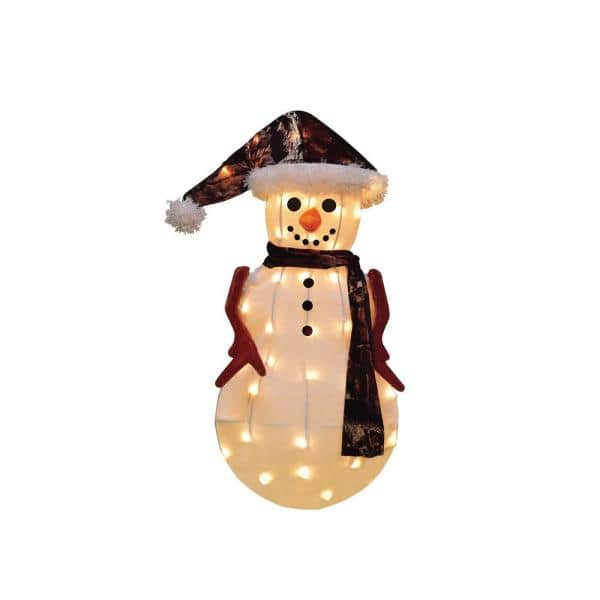 Candy Cane Lane 24 in. Candy Cane Lane 3D Snowman In Camo Jacket Yard Decor | The Home Depot