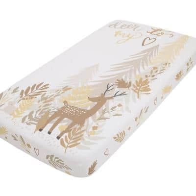 Deer To My Heart Tan, Brown and White Tree Leaf 100% Cotton Photo Op Fitted Crib Sheet