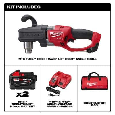 M18 FUEL 18-Volt Lithium-Ion Brushless Cordless Hole Hawg 1/2 in. Right Angle Drill Kit W/(2) 9.0Ah Batteries
