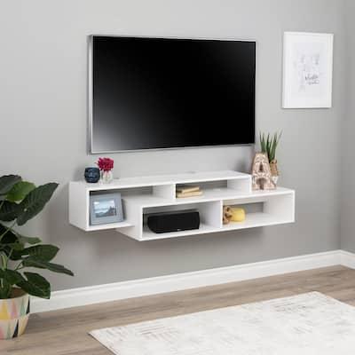 Modern White Wall Mounted Media Console and Storage Shelf