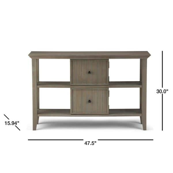 Simpli Home Acadian 48 In Distressed Gray Standard Rectangle Wood Console Table With Cabinet Axwell3 002 Gr The Home Depot