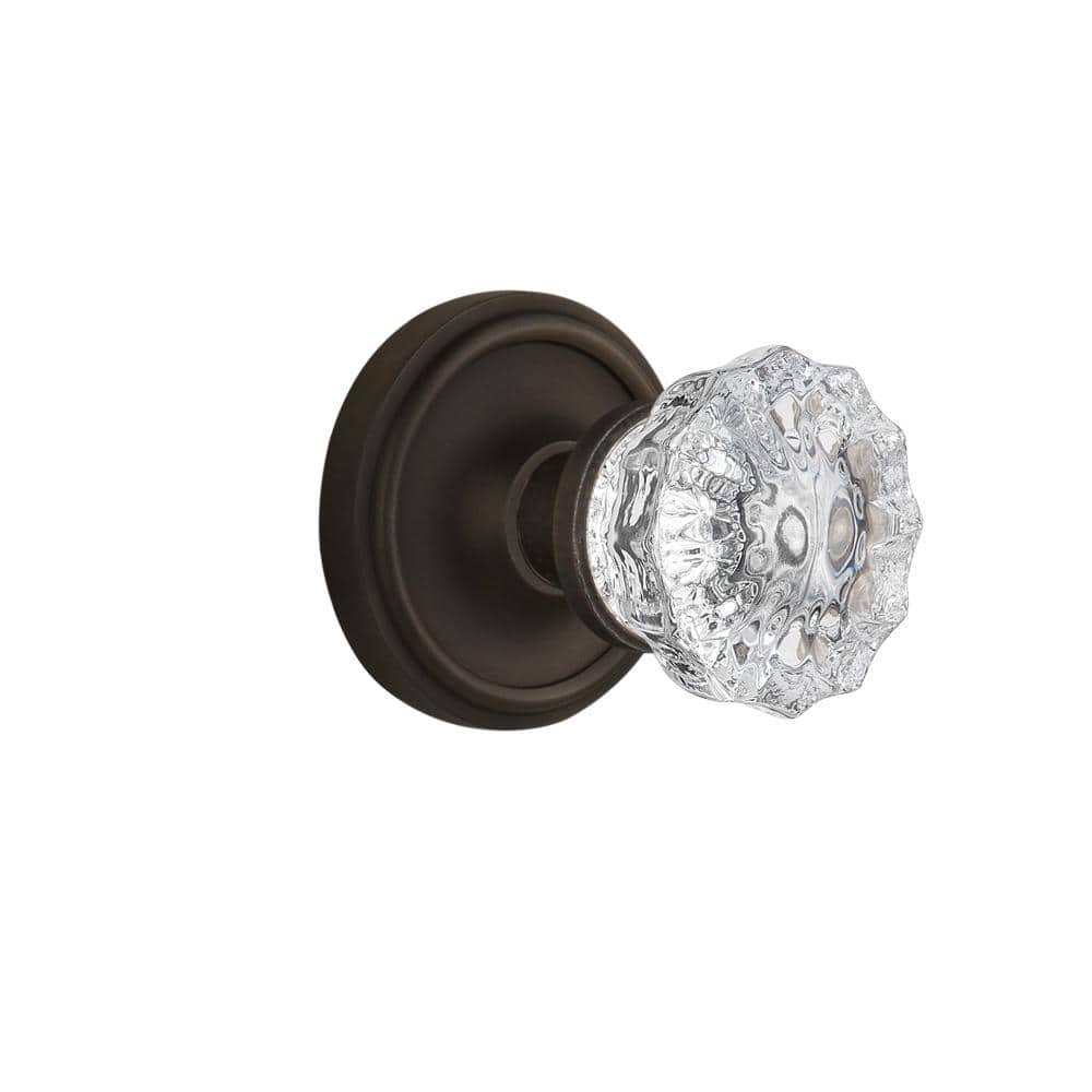 Nostalgic Warehouse Classic Rosette 2 3 8 In Backset Oil Rubbed Bronze Privacy Bed Bath Crystal Glass Door Knob 704725 The Home Depot
