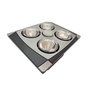 4-Bulb 90 CFM Ceiling Bathroom Exhaust Fan with Light and (4) 270-Watt Infrared Heat Bulbs Matte Chrome Grill