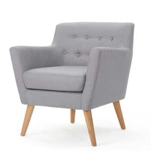Meena Mid-Century Modern Button Back Light Gray Fabric Club Chair