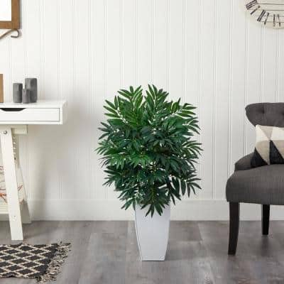 3 ft. Artificial Bamboo Palm Plant in White Metal Planter
