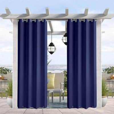50 X 120 In Outdoor Rustproof Grommet Porch Decor Privacy Thermal Insulated Curtain Dark Blue 1 Panel Cchg50120dbg The Home Depot