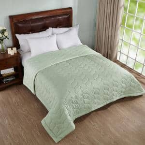 Dark Green King Reversible Down Alternative Quilted Blanket