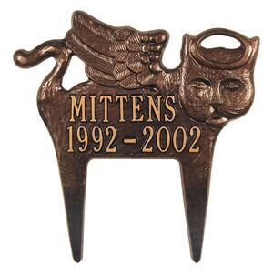 Antique Copper Angel-Cat Pet Memorial