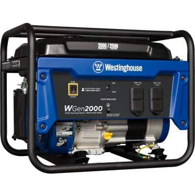 WGen2000 2,500/2,000 Watt Gasoline Powered Portable Generator with Automatic Low Oil Shutdown