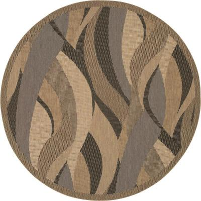 Recife Seagrass Natural-Black 8 ft. 6 in. x 8 ft. 6 in. Round Indoor/Outdoor Area Rug