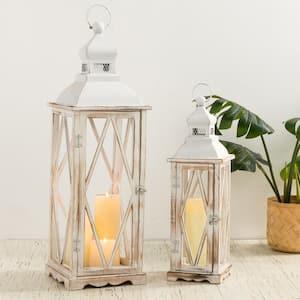 Whitewash Wood Lantern With Metal Lid, Set of 2